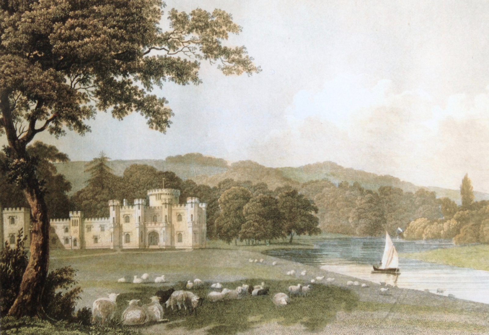 Lady Burrell's watercolour of 1830 of Knepp Castle